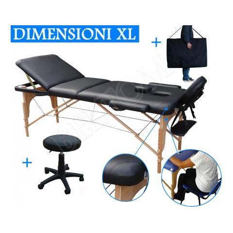 Beltom Lettino Massaggio 3 Zone In Legno Dimensione Xl 195 X 70 Cm