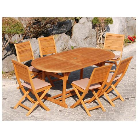 HOMEGARDEN - Tavolo da pranzo allungabile ovale in legno di ...
