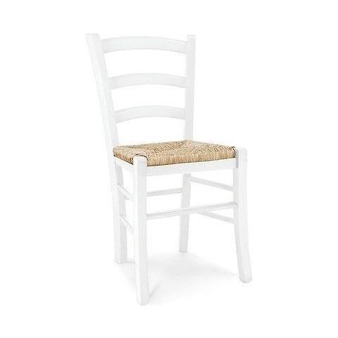 Estea Mobili 4 Pezzi Sedia Sedie Legno Col. Bianco Opaco Seduta Paglia X Cucina Sala Salotto