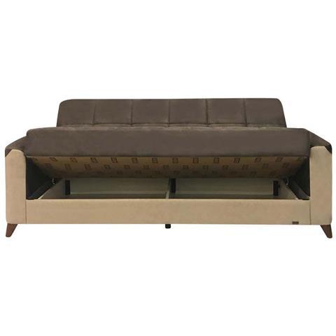 argonauta divano letto 3 posti con contenitore in ecopelle tortora / grigio  scuro 225x97xh 90 cm