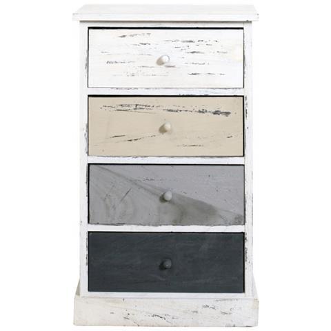 Cassettiera 4 Cassetti Prezzi.Mobili Rebecca Cassettiera Comodino 4 Cassetti Bianco Beige