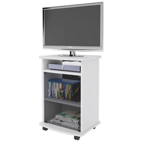 Carrelli Porta Tv Con Ruote.Argonauta Carrello Porta Tv Mobile Color Bianco Con Vetrina Cm 47x40xh 73