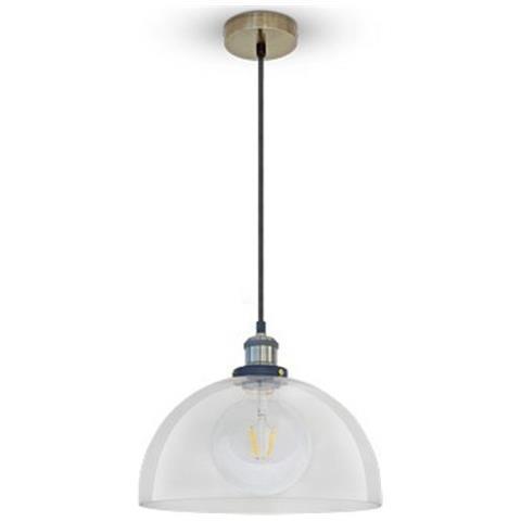 TAKESTOP - Lampadario Vetro Trasparente Metallo Con Porta Lampada ...