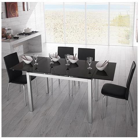 Tavoli Da Cucina Con Top.Stones Tavolo Da Pranzo Allungabile Con Top In Vetro Nero 130 200x80x75 Cm Stones Baud Om 136 N
