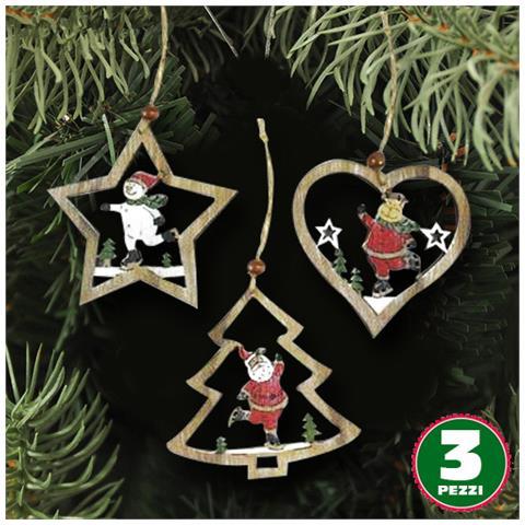 Appendini Legno.Bakaji 3pz Appendini Natale In Legno Forma Stella Albero Cuore Con