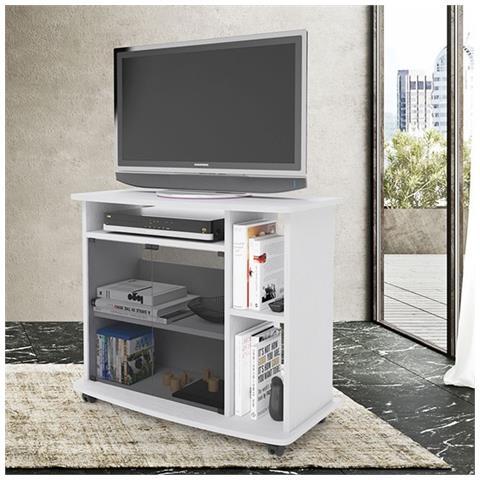 Ripiano Porta Tv.Argonauta Carrello Porta Tv Bianco Con Vetrina E Ripiano Laterale Cm 81x40xh 73