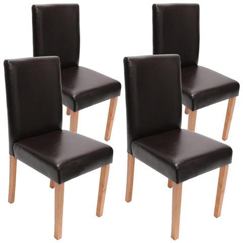 Sedie In Pelle Per Sala Da Pranzo.Mendler Set 4x Sedie Littau Pelle Per Sala Da Pranzo 43x56x90cm Marrone Piedi Chiari