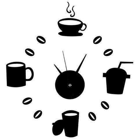 TradeShopTraesio® - Orologio Da Parete Adesivo Nero Tazze Caffè ...
