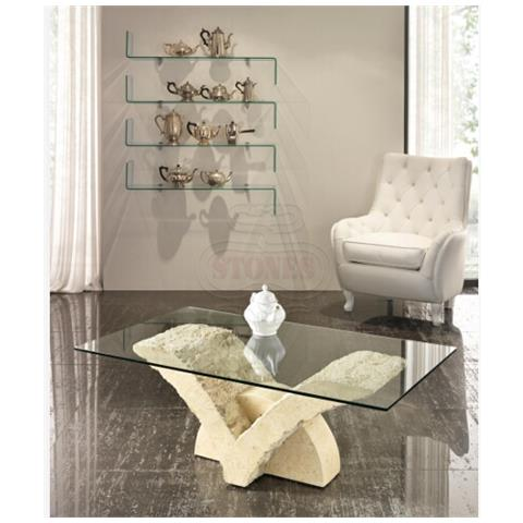 STONES Tavolino Da Salotto In Vetro - St549 Gambe Bianco Mactan