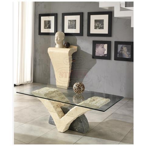 STONES Tavolino Da Salotto In Vetro - St549 Gambe Bianco Mactan E Grigio  Pietra