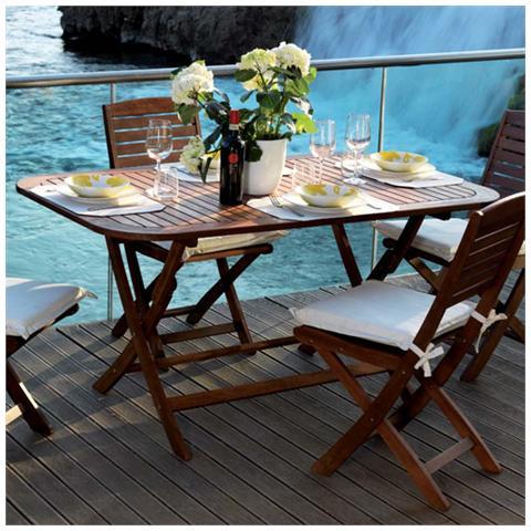 Tavolo Giardino Legno Richiudibile.Homegarden Tavolo In Legno Pieghevole Da Arredo Giardino 150x90x74