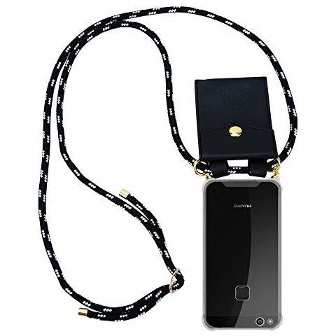 Cadorabo Custodia Collana Per Huawei P10 Lite In Nero Argento Case A Tracolla - Cover Laccio Per Il Collo In Silicone Trasparente Con Cordino E ...