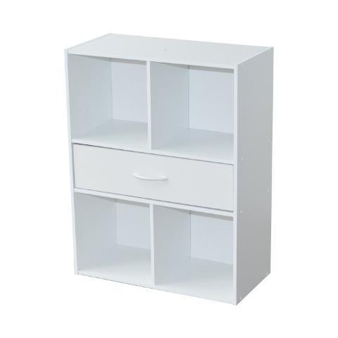 Mobile a 4 scompartimenti e 1 cassetto dimensioni: 61,5 x 29,5 x 80 cm colore: Bianco Alsapan 94483 Compo 10