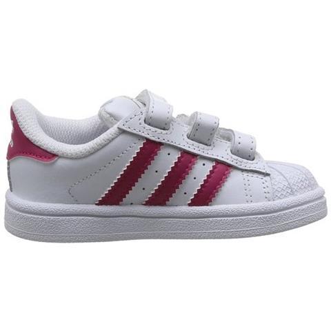 Adidas Superstar Foundation Cf I Scarpe Bambina Bianche Pelle Strappi B23639 25