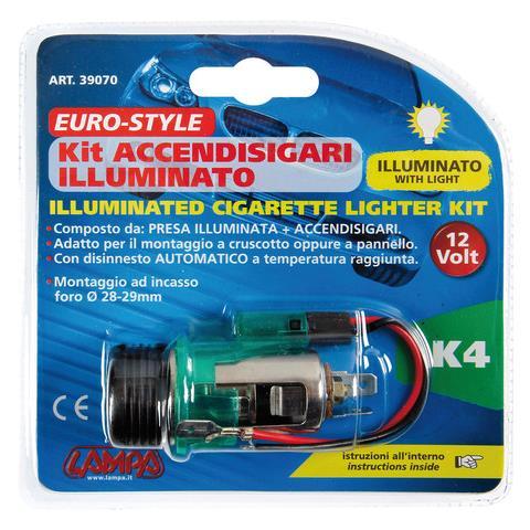500 Kit Accendisigari illuminato e presa ad Incasso 12v
