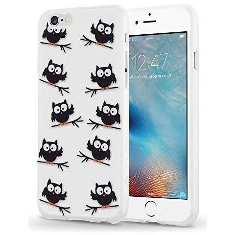 Cadorabo Custodia Per Apple Iphone 6 / Iphone 6s Custodia Silicone Tpu In Disegno Civetta Nera - Morbida Cover Protettiva Super Sottile - Back Case ...