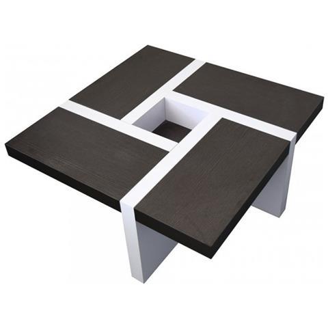 Tavolini Da Salotto Arredamento.Mobili Rebecca Tavolino Da Salotto Bianco E Marrone Arredamento
