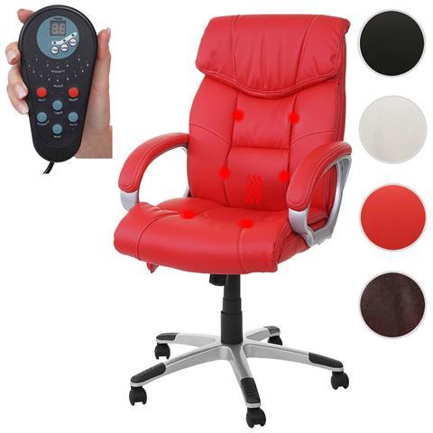 Poltrona Ufficio Massaggio.Mendler Poltrona Ufficio Con Massaggio Hwc A71 Ecopelle Design Moderno Rosso