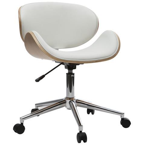 Sedie Da Scrivania In Legno.Miliboo Sedia Da Ufficio Design Colore Bianco E Legno Chiaro