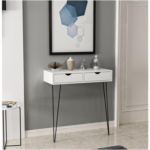 Homemania Tavolo Consolle Arya Con Cassetti Scrivania Da Salotto Studio Ufficio Bianco Nero In Legno Metallo 90 X 40 X 90 Cm Eprice
