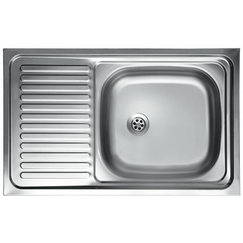 ARGONAUTA Lavello Cucina Vasca Con Gocciolatoio Sx Acciaio Da Appoggio  50x90 Cm