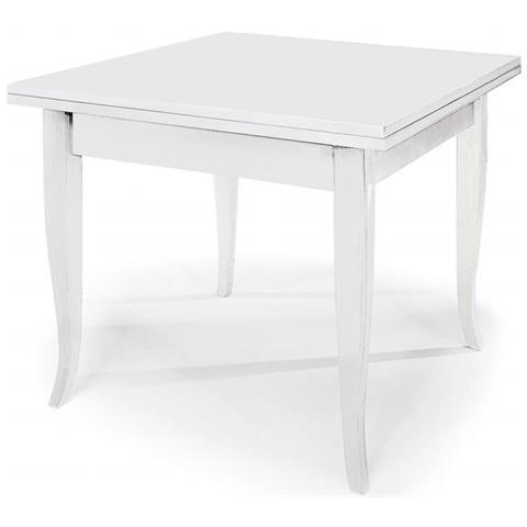 MilaniHome Tavolo Quadrato Allungabile A Libro Bianco 80 X 80/160 Per  Interno Sala Da Pranzo Salotto Cucina Arte Povera Massello
