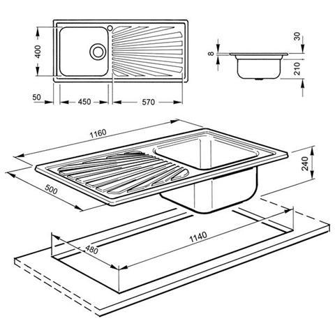 Dimensioni Lavelli Da Cucina.Smeg Sge116 1d Serie Alba Lavello Da Incasso In Acciaio Inox
