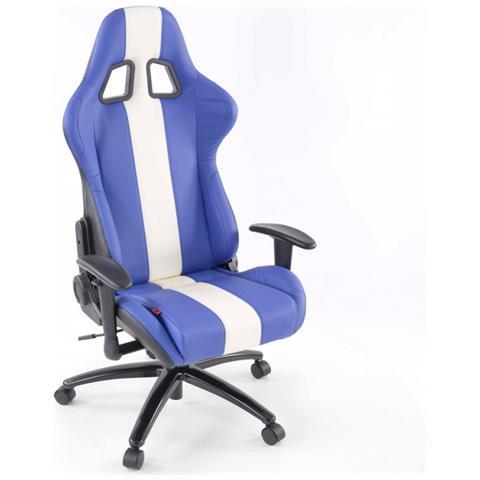 Sedia Sportiva Da Ufficio.Fk Automotive Sedia Da Ufficio Sedile Sportivo Con Braccioli Pelle Artificiale Blu Bianco Eprice
