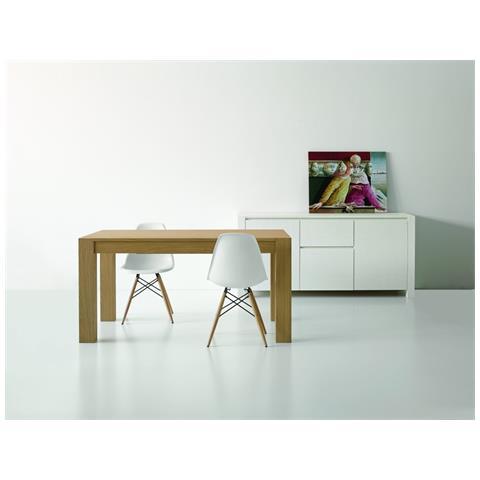 MilaniHome Credenza Abete Bianco Spazzolato 185 X 50 X 84 Per Interno Sala  Da Pranzo Salotto Cucina Moderno Massello