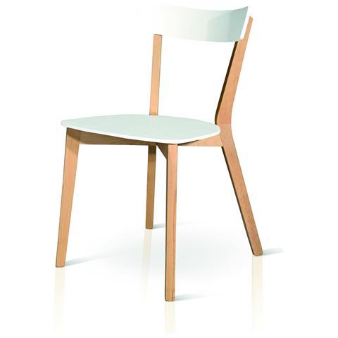Estea Mobili Sedia Moderna Design Legno Naturale E Col Bianco