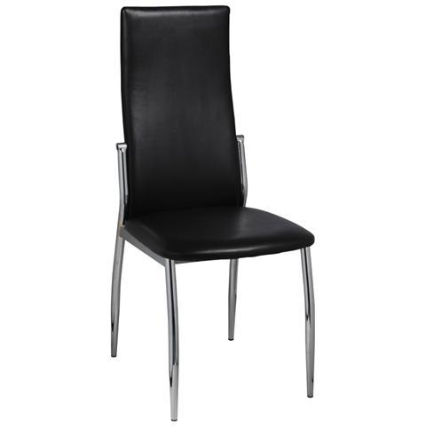 Sedie Metallo Pelle.Vidaxl Set 4 Sedie Moderne Cucina E Pranzo Pelle Metallo Nere