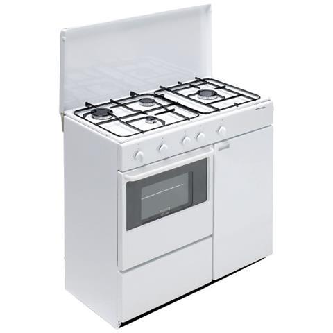 BOMPANI Cucina a Gas BI960YA / L 4 Fuochi a Gas Forno a Gas Classe A  Dimensioni 85 x 45 cm Colore Bianco Serie Ecoline