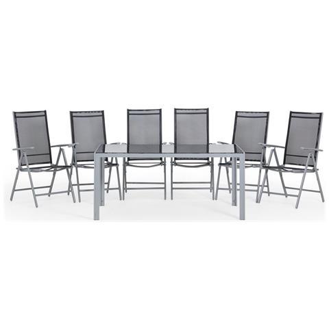 Tavoli Da Giardino Catania.Beliani Set Di Tavolo Da Giardino 160cm E 6 Sedie In Alluminio