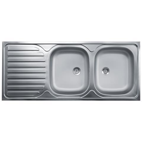ARGONAUTA Lavello Cucina Due Vasche Con Gocciolatoio Sx Acciaio Da Appoggio  50x120 Cm