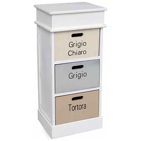 ARGONAUTA - Mobile Cassettiera Bagno Cucina Tre Cassetti Bianco Cm ...