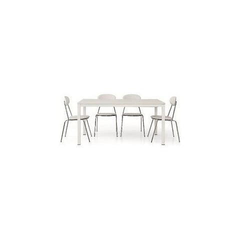Estea Mobili Tavolo Legno Frassinato Bianco Moderno Allungabile 140x90 X  Cucina Sala Temp