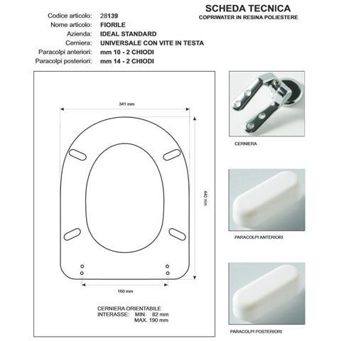 Acb Colbam Copriwater Ideal Standard Fiorile Bianco Euro Sedile Cerniera Cromo Sedile Asse Wc Eprice