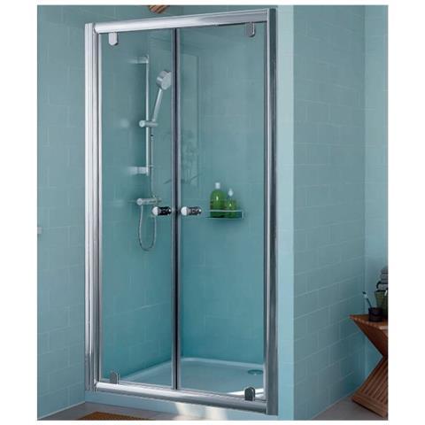 Expotrio Shower Porta Doccia Due Ante Battenti Nicchia Cristallo  Trasparente 6 Mm Alluminio 90