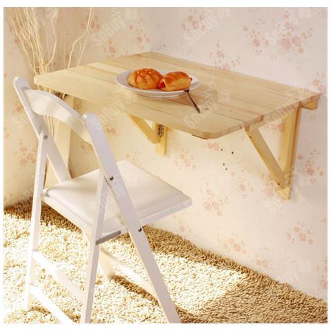 Tavolo Da Muro Pieghevole.Sobuy Tavolo Da Muro Pieghevole In Legno 75 60cm Con Due