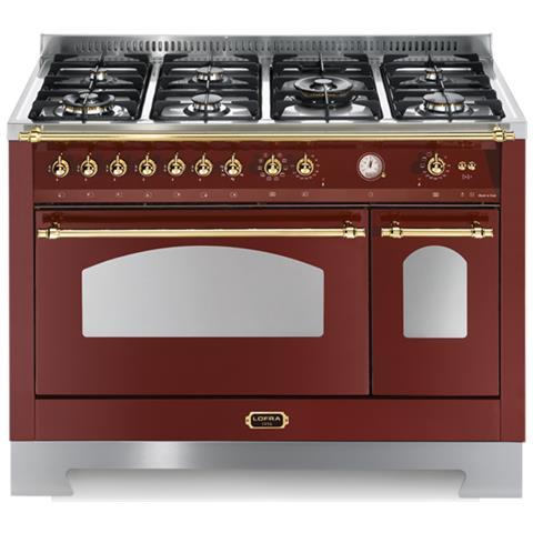 lofra Cucina a Gas RRD126MFT+E / 2AEO 7 Fuochi a Gas 2 Forni Elettrici 1  Multifunzione e 1 Statico Classe A Dimensioni 120 x 60 cm Colore Borgogna