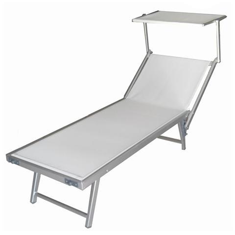 Lettini Da Spiaggia Alluminio.Homegarden Lettino Da Spiaggia Regolabile Sdraio Prendisole In