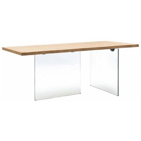 Piedi Per Tavolo Cristallo.Estea Mobili Tavolo Con Piano In Legno Rovere Massello Con Gambe In Cristallo Temperato