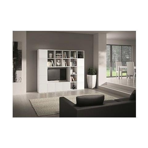 Estea Mobili Libreria Parete Moderno Soggiorno Porta Tv Legno Bianco  Frassinato Componibile