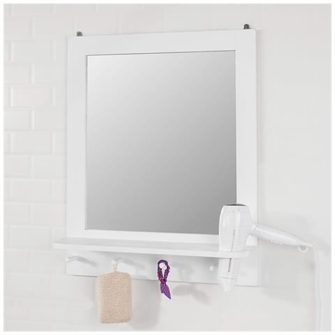 Porta Phon Da Parete.Sobuy Specchio Da Bagno Con Mensola E Porta Phon Specchio Trucco Da Parete Con 4 Ganci Bianco Frg257 W