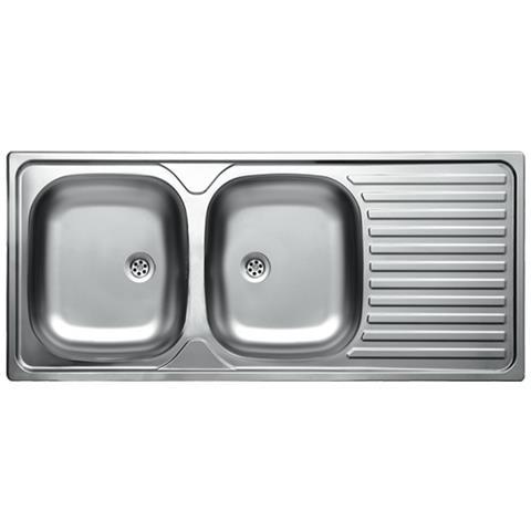 ARGONAUTA Lavello Cucina Acciaio 2 Vasche Gocciolatoio Dx Da Incasso 50x116  Cm