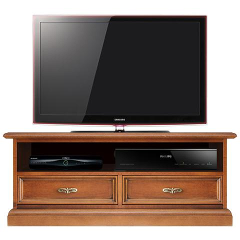 Arteferretto Porta Tv.Arteferretto Mobile Porta Tv Basso In Legno Con Vano Soundbar L 106 H 43 Cm