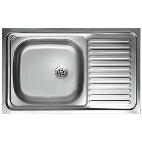 ARGONAUTA Lavello Cucina Vasca Con Gocciolatoio Dx In Acciaio Da Appoggio  50x80 Cm