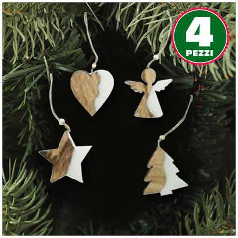 Appendini Legno.Bakaji 4 Appendini Natale In Legno Ovatta Forma Stella Albero