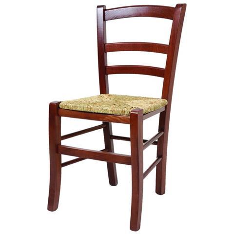 Sedute Per Sedie Legno.Argonauta Sedia In Legno Massello Di Faggio Seduta In Paglia Color Noce 41x42xh 88 Cm