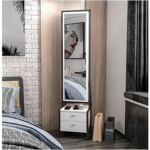 Homemania Mobile Multiuso Elegante Con Specchio Ripiani Cassetti Da Ingresso Camera Bianco Nero In Legno 41 X 35 X 170 Cm Eprice